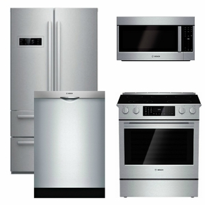 Package B1 - Bosch Appliance - 4 Piece Appliance Package - Counter Depth Refrigerator and Electric Range - Stainless Steel