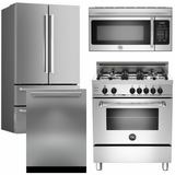 "Package Bert1 - Bertazzoni Appliance Package - 4 Piece Luxury Package with 30"" Dual Fuel Range - Stainless Steel"