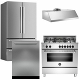 "Package Bert3 - Bertazzoni Appliance Package - 4 Piece Luxury Package with 36"" Gas Range - Stainless Steel"