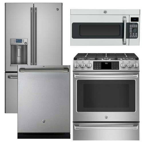 Package CAFE1   Ge Cafe Appliance   4 Piece Appliance Package With Gas  Range   Stainless Steel