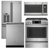 Package CAFE1 - Ge Cafe Appliance - 4 Piece Appliance Package with Gas Range - Includes Free Microwave - Stainless Steel