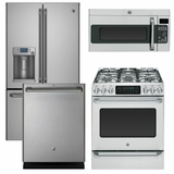 Package CAFE1 - Ge Cafe Appliance - 4 Piece Appliance Package with Gas Range - Stainless Steel