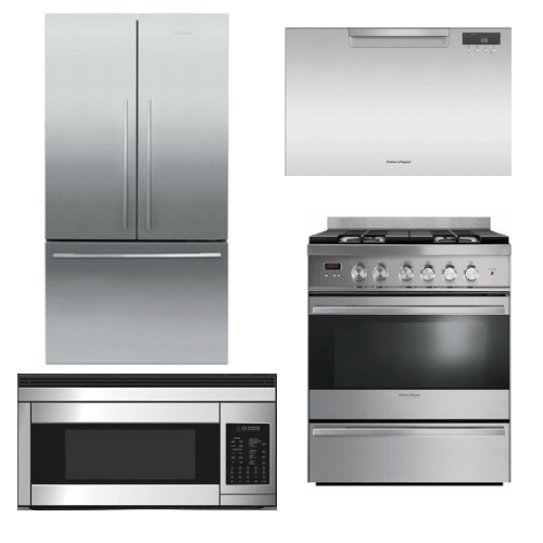 Package FPAY1 - Fisher & Paykel Appliance Package - 4 Piece Appliance Package with Gas Range - Stainless Steel