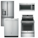 Package GEP1 - GE Profle Appliance Package - 4 Piece Appliance Package with Electric Range - Stainless Steel