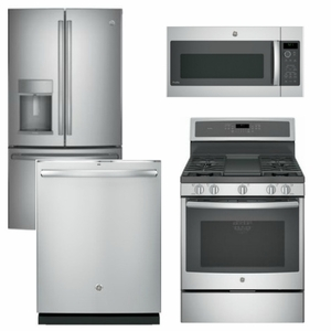 Package GEP2 - GE Profle Appliance Package - 4 Piece Appliance Package with Gas Range - Staineless Steel