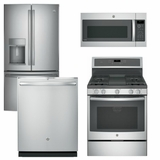 Package GEP2 - GE Profle Appliance Package - 4 Piece Appliance Package with Gas Range - Includes Free Microwave - Staineless Steel