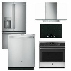 Package GEP3 - GE Profle Appliance Package - 5 Piece Appliance Package with Electric Cooktop - Stainless Steel