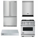 Package V6 - Viking Appliance Package - 4 Piece Luxury Appliance Package with Gas Range - Stainless Steel