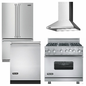 Package V7   Viking Appliance Package   4 Piece Luxury Appliance Package  With Gas Range + Free Dishwasher   Stainless Steel