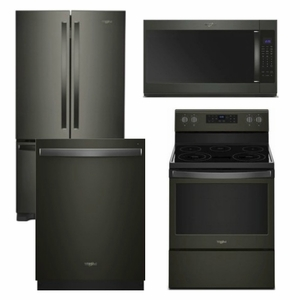 Package WPBS1 - Whirlpool Appliance Package - 4 Piece Appliance Package with Electric Range - Black Stainless Steel