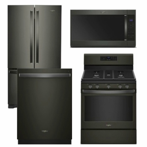 Package WPBS2 - Whirlpool Appliance Package - 4 Piece Appliance Package with Gas Range - Free Microwave - Black Stainless Steel
