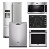 Package 32 - Maytag Appliance Built-In Package - 5 Piece Appliance Package including Electric Cooktop - Stainless Steel