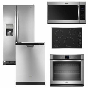 Package 34 - Whirlpool Appliance Built-In Package - 5 Piece Appliance Package with Electric Cooktop - Stainless Steel