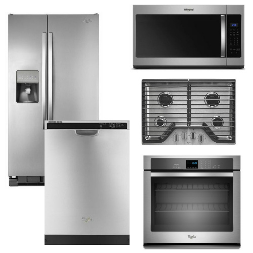 Package 35 - Whirlpool Appliance Built-In Package - 5 Piece Appliance Package with Gas Cooktop - Stainless Steel