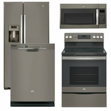 Package 36 - GE Appliance - 4 Piece Appliance Package with Free Microwave - Electric Range - Slate