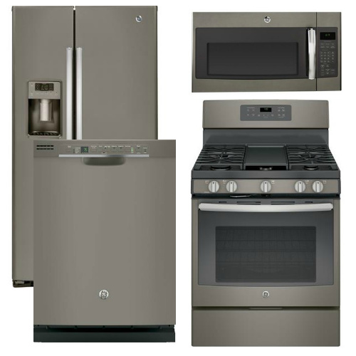 37 - ge appliance - 4 piece appliance package with gas range - slate