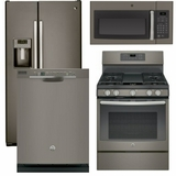 Package 37 - GE Appliance - 4 Piece Appliance Package with Gas Range - Slate