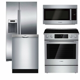 Package B5 - Bosch Appliance Package - 4 Piece Appliance Package with Electric Range - Stainless Steel