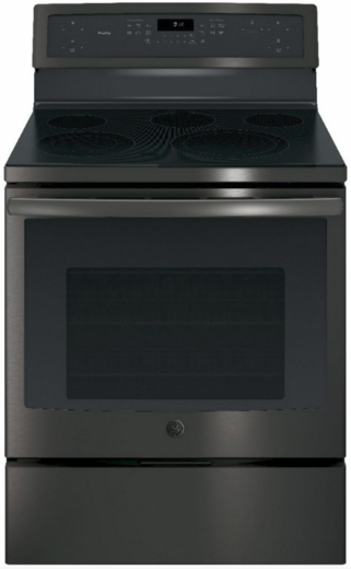 "PB911BJTS GE Profile Series 30"" Free-Standing Electric Convection Range with Edge-to-edge Cooktop - Black Stainless Steel"