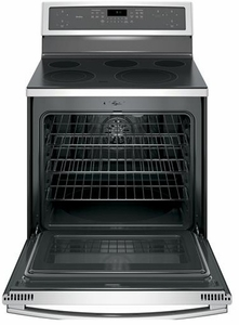 "PB911SJSS GE Profile Series 30"" Free-Standing Electric Convection Range with Edge-to-edge Cooktop - Stainless Steel"