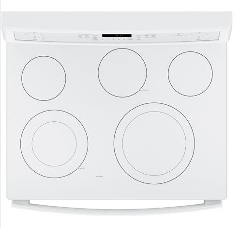 "PB911TJWW GE Profile Series 30"" Free-Standing Electric Convection Range with Edge-to-edge Cooktop - White"