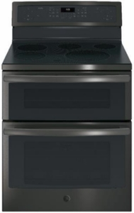 """PB960FJDS GE Profile 30"""" 6.6 Cu. Ft. Freestanding Double Oven Electric Convection Range with Ceramic Cooktop Surface and Steam-Clean Oven - Black Slate"""
