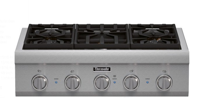 Pcg305p Thermador 30 Proffesional Series Range Top With 5 Sealed Burners Stainless Steel