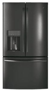 """PFE28KBLTS GE Profile 36"""" 27.8 Cu. Ft. French Door Refrigerator with 4 Adjustable Glass Shelves and 6 Door Bins - Black Stainless Steel"""