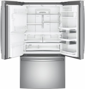 """PFE28KSKSS GE Profile 36"""" 27.8 Cu. Ft. French Door Refrigerator with 4 Adjustable Glass Shelves and 6 Door Bins - Stainless Steel"""