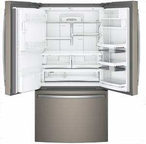 "PFE28PMKES GE Profile 36"" 27.8 Cu. Ft. French Door Refrigerator with 4 Adjustable Glass Shelves and Drop Down Tray - Slate - CLEARANCE"