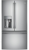 "PFE28PSKSS GE Profile 36"" 27.8 Cu. Ft. French Door Refrigerator with 4 Adjustable Glass Shelves and Drop Down Tray - Stainless Steel"