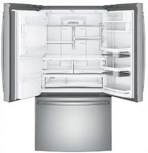 """PFE28PSKSS GE Profile 36"""" 27.8 Cu. Ft. French Door Refrigerator with 4 Adjustable Glass Shelves and Drop Down Tray - Stainless Steel"""