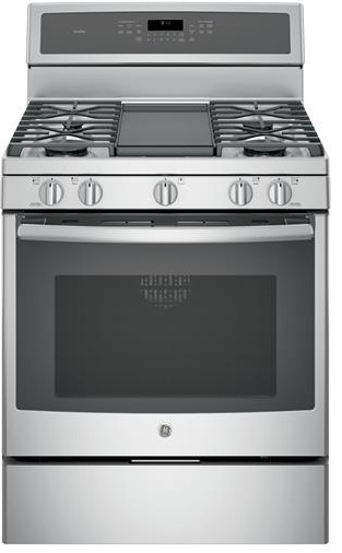 "PGB911ZEJSS GE Profile Series 30"" Free-Standing Gas Convection Range with Edge-to-edge Cooktop - Stainless Steel"