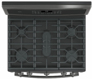 """PGB960BEJTS GE Profile Series 30"""" Free-Standing Gas Double Oven Convection Range with Dual Purpose Center Burner ad Chef Connect - Black Stainless Steel"""