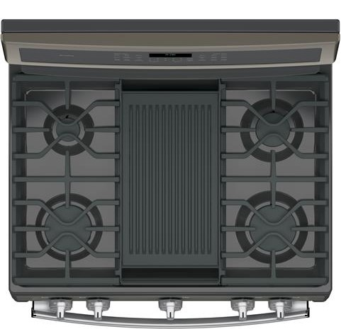 "PGB960EEJES GE Profile Series 30"" Free-Standing Gas Double Oven Convection Range with Dual Purpose Center Burner - Slate"