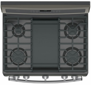"""PGB960FEJDS GE Profile Series 30"""" Free-Standing Gas Double Oven Convection Range with Dual Purpose Center Burner ad Chef Connect - Black Slate"""