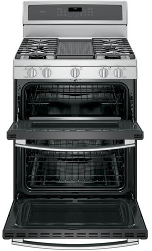 "PGB980ZEJSS GE Profile Series 30"" Free-Standing Gas Double Oven Convection Range with Dual Purpose Center Burner - Stainless Steel"