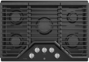 """PGP7030DLBB GE Profile 30"""" Gas Cooktop with White LED Backlit Heavy-Duty Knobs and Precise Simmer Burner   - Black"""