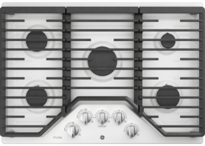 "PGP7030DLWW GE Profile 30"" Gas Cooktop with White LED Backlit Heavy-Duty Knobs and Precise Simmer Burner - White"