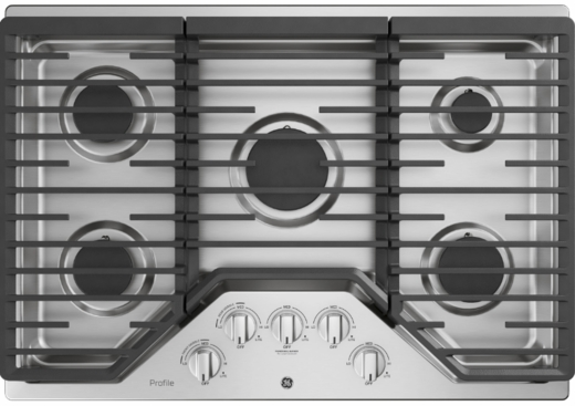 "PGP7030SLSS GE Profile 30"" Gas Cooktop with White LED Backlit Heavy-Duty Knobs and Precise Simmer Burner   - Stainless Steel"