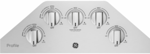 """PGP7030SLSS GE Profile 30"""" Gas Cooktop with White LED Backlit Heavy-Duty Knobs and Precise Simmer Burner   - Stainless Steel"""