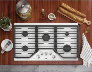 "PGP7036DLWW GE Profile 36"" Natural Gas Cooktop with Precise Simmer Burner and Sealed Cooktop Burner - White"