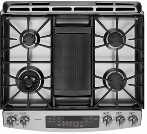 """PGS920SEFSS GE Profile Series 30"""" Slide-In Gas Range with Warming Drawer - Stainless Steel"""