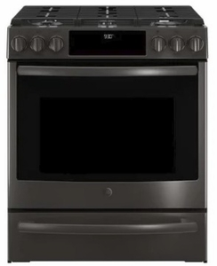 """PGS930BELTS GE 30"""" Profile Series Slide-In Front Control Gas Range with True European Convection and Self-Clean - Black Stainless Steel"""