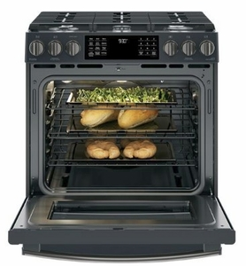 """PGS930FELDS GE 30"""" Profile Series Slide-In Front Control Gas Range with True European Convection and Self-Clean - Black Slate"""