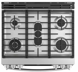 "PGS930SELSS GE 30"" Profile Series Slide-In Front Control Gas Range with True European Convection and Self-Clean - Stainless Steel"