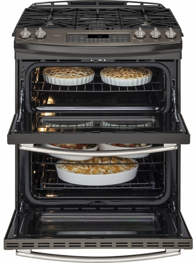 "PGS950EEFES GE Profile Series 30"" Slide-In Double Oven Gas Range with 20,000 BTU Tri-Ring Burner - Slate"