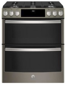 "PGS960EELES GE 30"" Profile Series Slide-In Front Control Double Oven Gas Range with True Convection and Self-Clean - Slate"