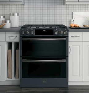 "PGS960FELDS GE 30"" Profile Series Slide-In Front Control Double Oven Gas Range with True Convection and Self-Clean - Black Slate"