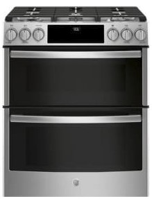 """PGS960SELSS GE 30"""" Profile Series Slide-In Front Control Double Oven Gas Range with True Convection and Self-Clean - Stainless Steel"""